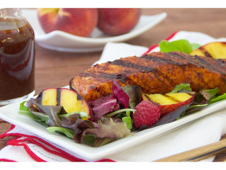 Gluten-Free Sweet Chili-Rubbed Salmon with Grilled Peach & Raspberry Salad