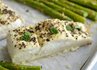 Baked Garlic Parmesan Halibut & Asparagus