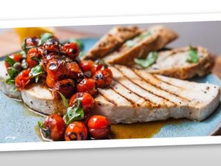 Swordfish Steak and Charred Tomatoes