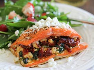 Salmon Stuffed with Feta, Spinach & Sun Dried Tomato