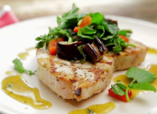 Grilled Swordfish and Eggplant Salad with Honey-Thyme Vinaigrette