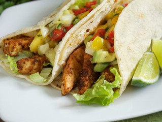 Blackened Swordfish Tacos w/ Mango Avocado Salsa