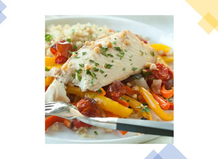 Roasted Flounder (or Cod) and Veggies with Quinoa and Pine Nuts
