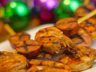 Grilled Cajun Shrimp and Andouille Kabobs