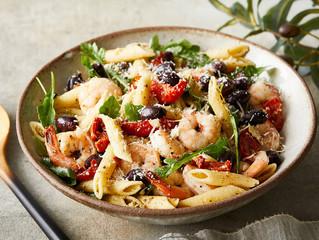 Mediterranean Pasta Salad with Arugula and Shrimp