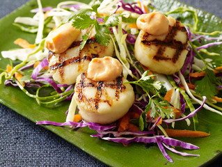 Grilled Sea Scallops with Spicy Ginger Aioli