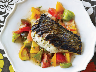 Grilled Rockfish with Indian-Spiced Tomato Salad
