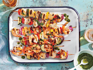 Shrimp and Chicken Kebabs with Summer Vegetables and Basil Oil Recipe