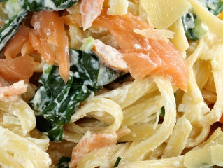 Smoked Salmon and Spinach Fettuccine