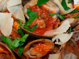 Clams and Sausage in Spicy Marinara with Crostini