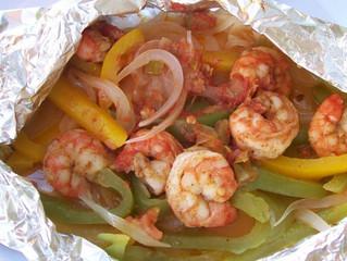 Shrimp Fajitas in Foil