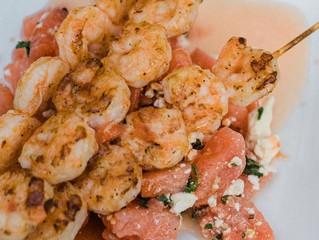 Grilled Shrimp Skewers with Watermelon Feta Salad and Sriracha Hot Honey
