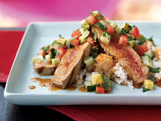 Grilled Tuna with Chipotle Ponzu and Avocado Salsa