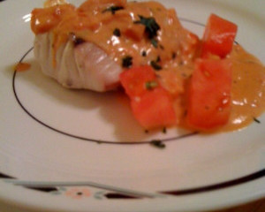 Rockfish with Tomato Basil Cream Sauce