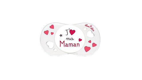 法國Luc et Léa愛心奶嘴系列(適合0個月以上) 我愛媽媽(白色) LEL0AJ635027_WHITEMAMA
