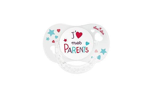 法國Luc et Léa拇指型趣緻奶嘴系列(適合18個月或以上) 我愛父母 LEL18AT635173_PARENTS