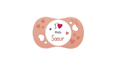 法國Luc et Léa彩色愛意奶嘴系列(適合6個月以上) 我愛姊妹(粉橙色) LEL6AJ635162_ORANGESISTER