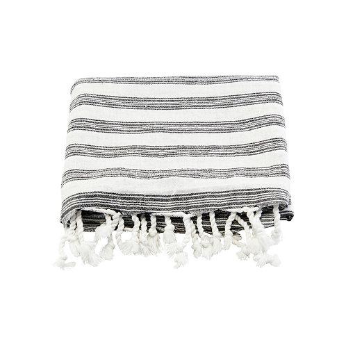Hammam Handtuch, weiss m. schwarzen Streifen