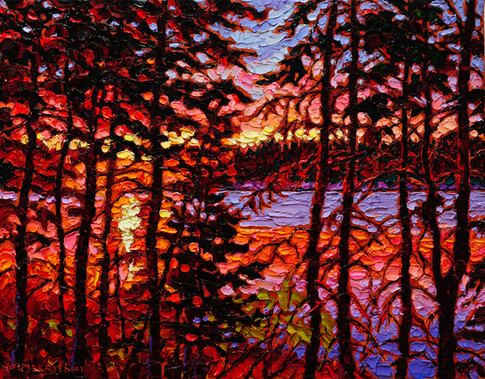River Sunset (oil, 11x14 in, Sold)