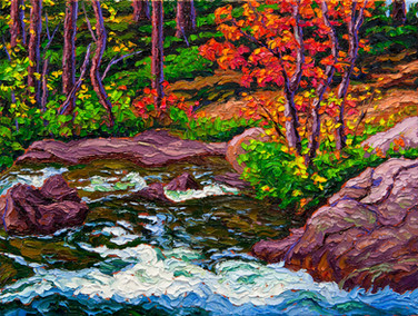 Autumn Cascade (oil, 12x16 in, Sold)