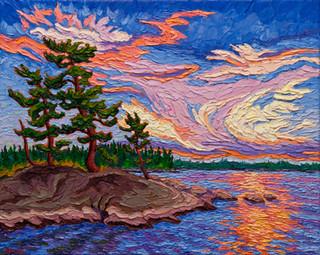 Winnipeg river Sunset (oil, 16x20 in)