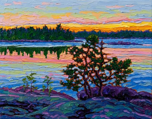 Island Sunset, Winnipeg River (oil, 11x14 in)