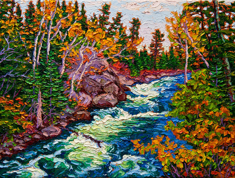 Rushing River (oil, 12x16 in, Sold)