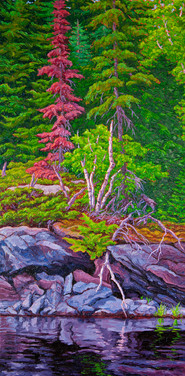 River's Edge (oil, 20x40 in, Sold)