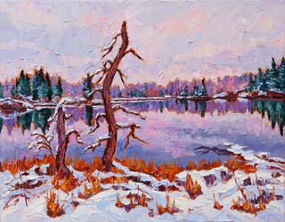 November Snow, Winnipeg River (oil, 11x14 in, Sold)
