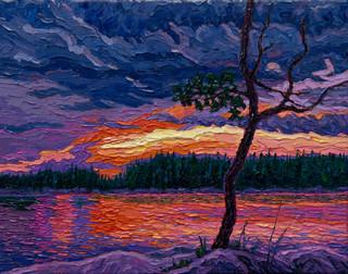 Fiery Sunset, Winnipeg River (oil, 14x18 in)