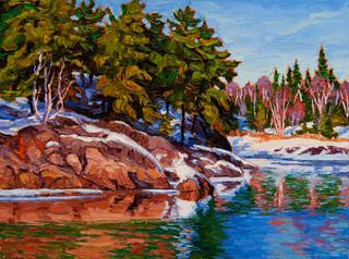 Lingering Snow, Winnipeg River (oil, 12x16 in, Sold)