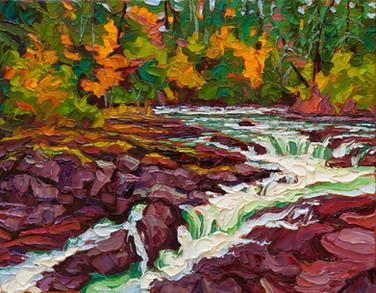Autumn Cascade, Stamp River (oil, 11x14 in, Sold)