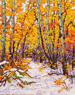 Breaking Trail, Assiniboine Forest (oil, 11x14 in)
