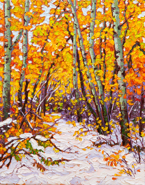 Breaking Trail, Assiniboine Forest (oil, 11x14 in)
