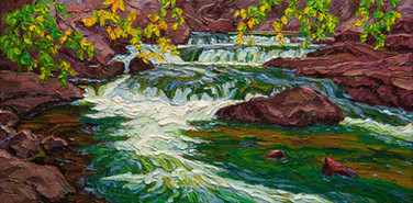 Rapids, Rushing River (oil, 12x24 in, Sold)