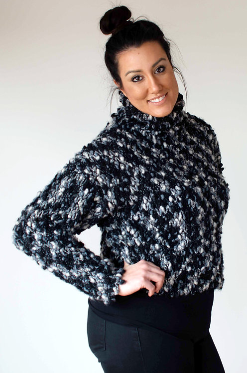 Nubbly Wool ~ Blue and Black