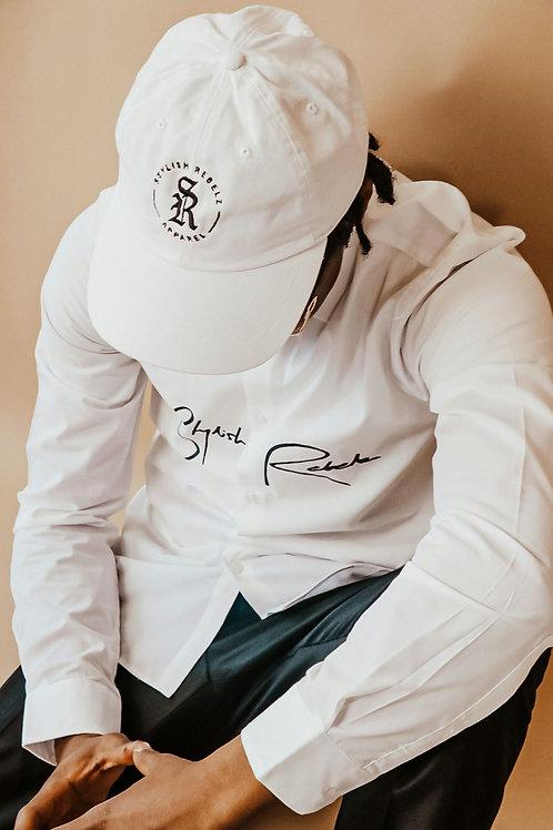 White Emblem Dad Hat