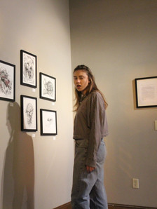 Shonnard viewing Valley StipeMaas' ink drawings