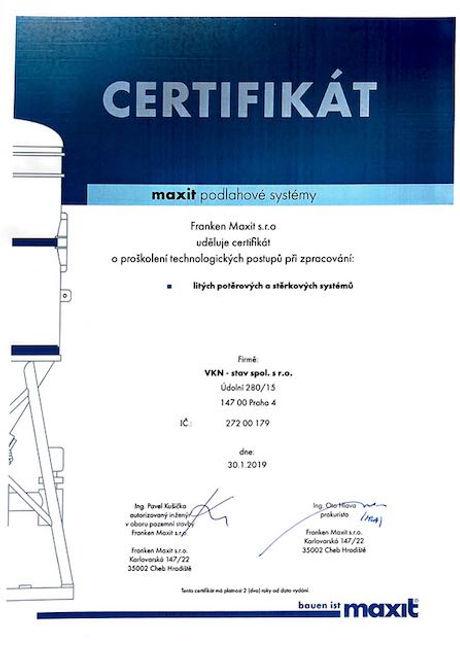 Certifikát Maxit, VKN-stav, strojní podl