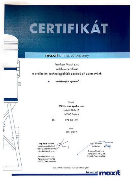 Certifikát Maxit, VKN-stav, omítkové sys