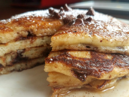 Warm, Fluffy Banana Chocolate Chip Pancakes with Sweet Cinnamon Butter