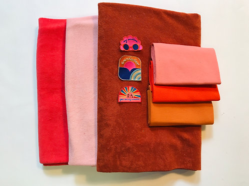 """NÄHPAKET braun rosa rot """"FROTTE LOVE & PATCHES"""" SET FROTTEE mal DREI"""
