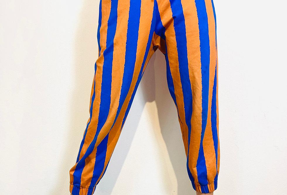 "Jogger Pants Hose ""COCO BIG STRIPES  BLAU BRAUN "" aus Sweatshirt"