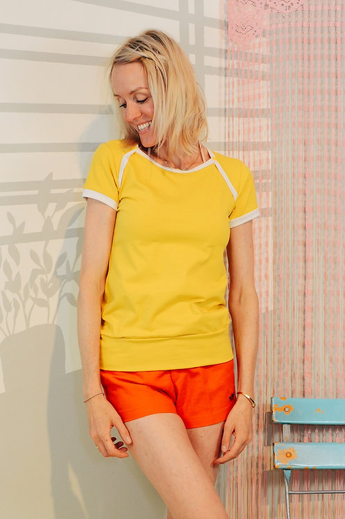 Sporty T-Shirt UNI YELLOW  gelb creme t-shirt einfarbig
