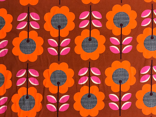 "Meterware Baumwolljersey ""FLOWER LOVING ROSTBRAUN ORANGE"" rosa  Retro Blumen"