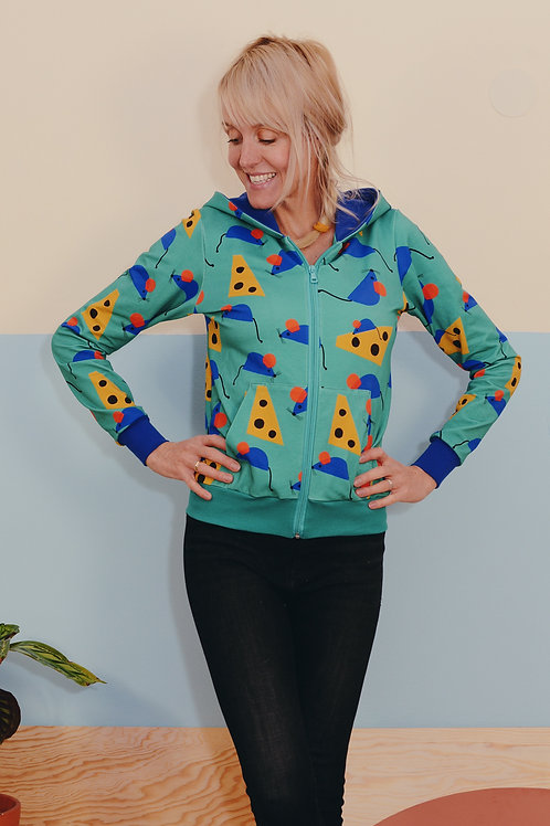 Sporty Kapuzenjacke MOUSE IN THE HOUSE mint gelb bunt