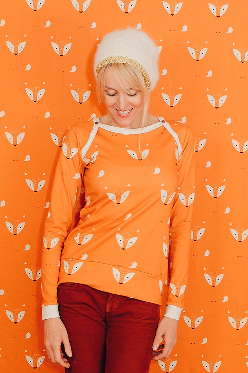 WIEDER DA! Sporty Langarm-Shirt MRS. FOX orange rot Damen Retro wood