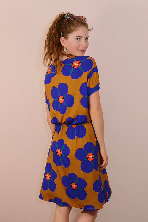 Jersey Kleid BIG FLOWER ocker Viscosejerseykleid von  Bonnie andButtermilk