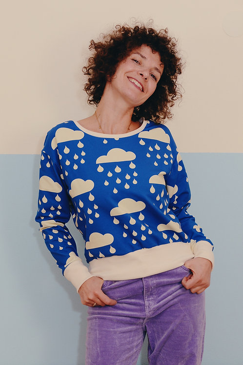 Dropped Longsleeve Sweater MISS BLUE SKYS creme blue