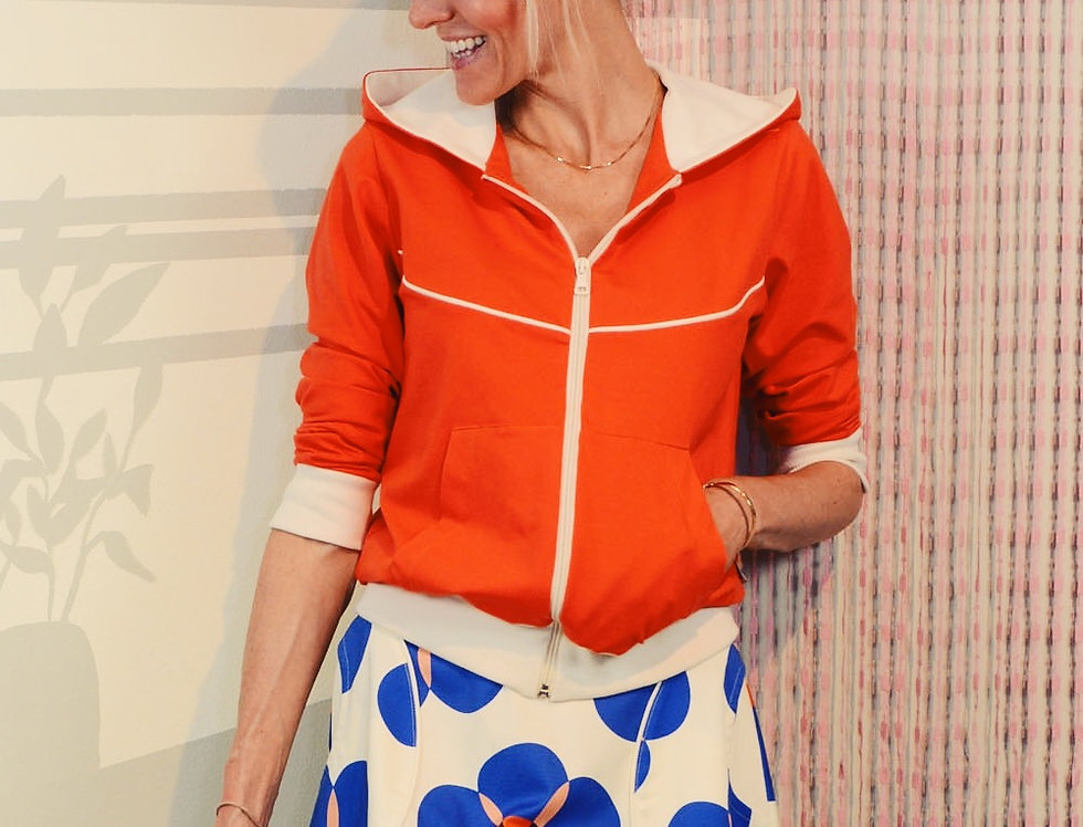 Sporty-Kapuzenjacke ORANGE-RED LOVE creme orangerot Jacke